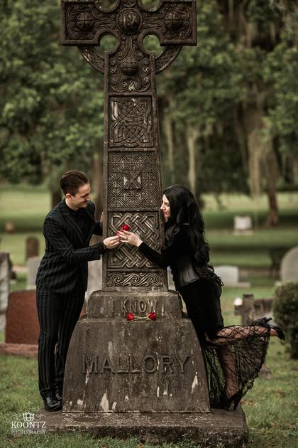 """""""Addams Family"""", """"Morticia and Gomez"""", Morticia & Gomez"""", """"Famous Couples"""", """"Morticia Cosplay"""", """"Gomez Cosplay"""", """"Adams Family Cosplay"""", """"Halloween Engagement"""", """"Halloween Wedding"""", """"Spooky Engagement"""", """"Gothic Engagement"""", """"Goth Engagement"""", """"Engagement photography"""", """"Gothic Couples Portraits"""", """"Greenwood Cemetery"""", """"Cemetery Engagement Photos"""", """"Graveyard Engagement photos"""""""