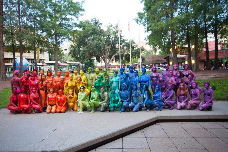 """Human Rainbow"" ""Base Orlando"" ""One Pulse"" ""Orlando Strong"" 1Pulse bodypaint ""body painting"" rainbow ""Love is love"" ""We are Orlando"" ""The Other Bar"" ""Orlando Pride"" LGBT"