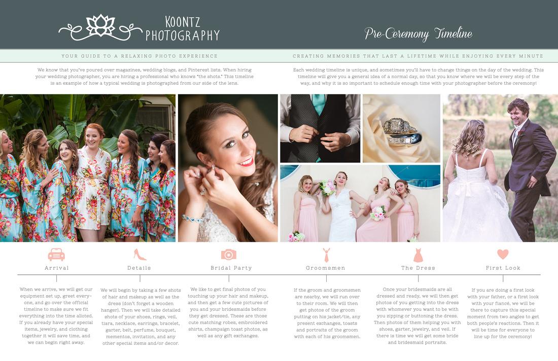 """""""wedding timeline"""", """"preceremony timeline"""", """"bridal timeline"""", """"photographer's timeline"""""""