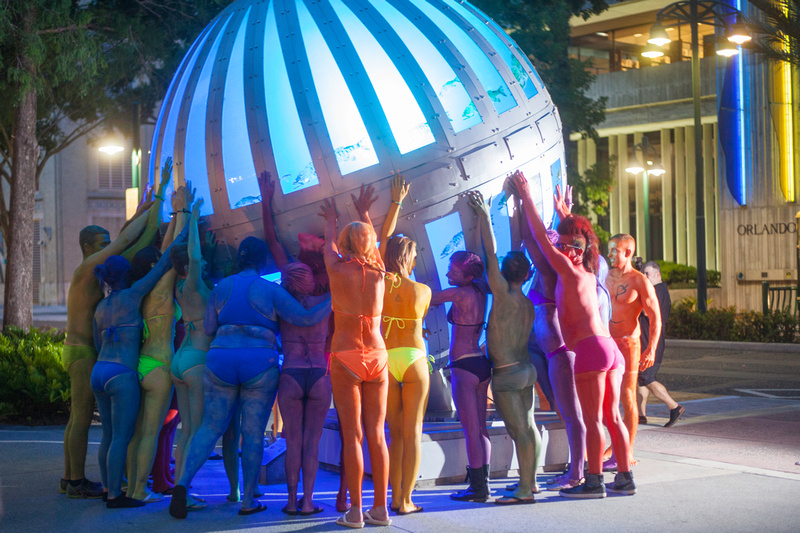 """Human Rainbow"" ""Base Orlando"" ""One Pulse"" ""Orlando Strong"" 1Pulse bodypaint ""body painting"" rainbow ""Love is love"" ""We are Orlando"" ""The Other Bar"" ""Orlando Pride"" LGBT"